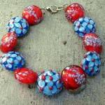 Red And Turquoise Lampwork..