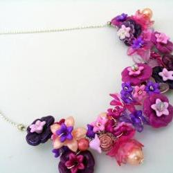 pink and plum floral bib necklace